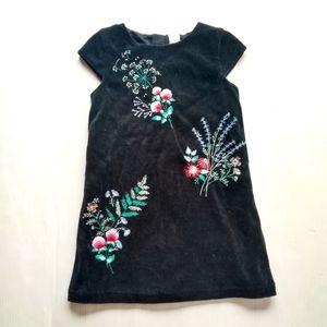 CARTERS • girls Black Velvet embroidered dress